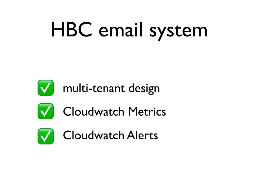 HBC email system • multi-tenant design • Cloudw...