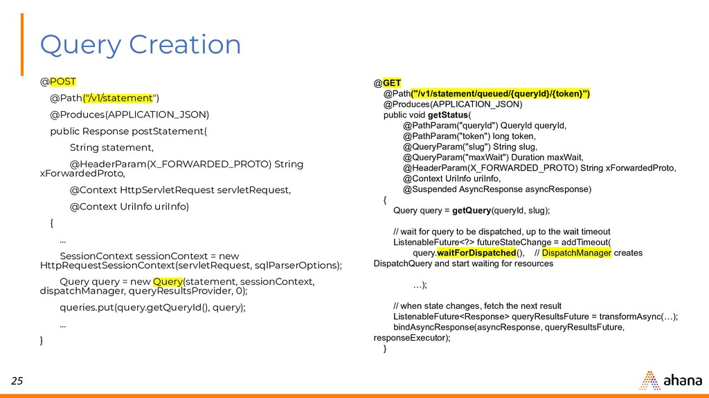 """25 Query Creation @POST @Path(""""/v1/statement"""") ..."""