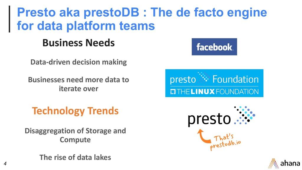 4 Presto aka prestoDB : The de facto engine for...