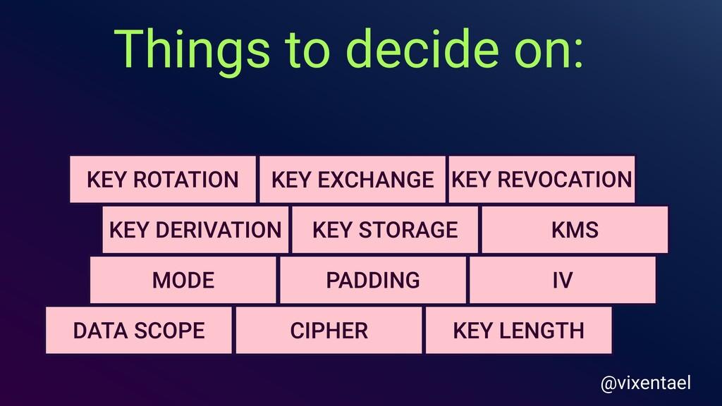 Things to decide on: PADDING KEY LENGTH KEY ROT...