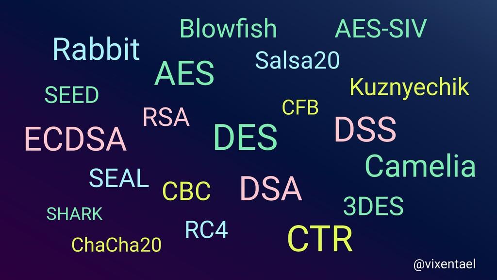 AES DES 3DES CBC CFB SEAL Salsa20 RSA DSA Kuzny...