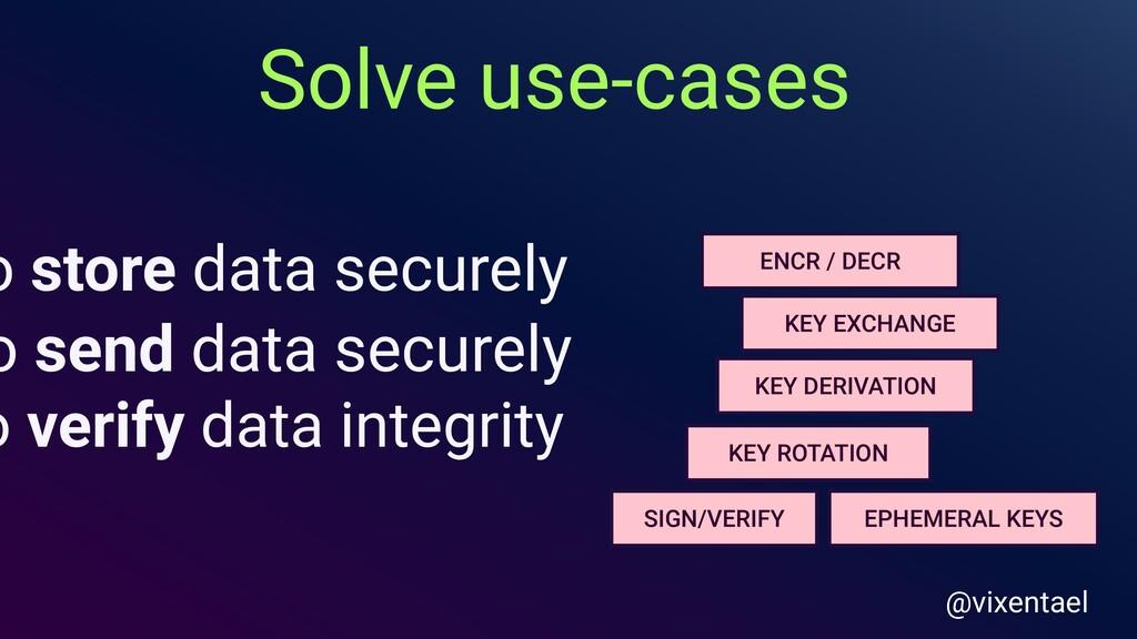 o store data securely o send data securely o ve...