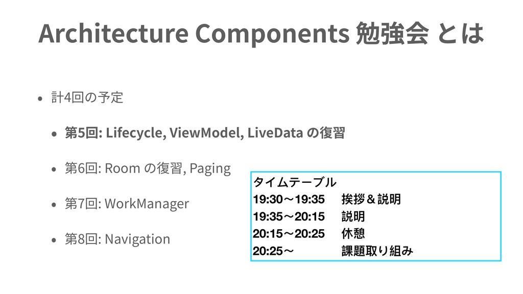 Architecture Components 勉強会 とは • 計4回の予定 • 第5回: ...