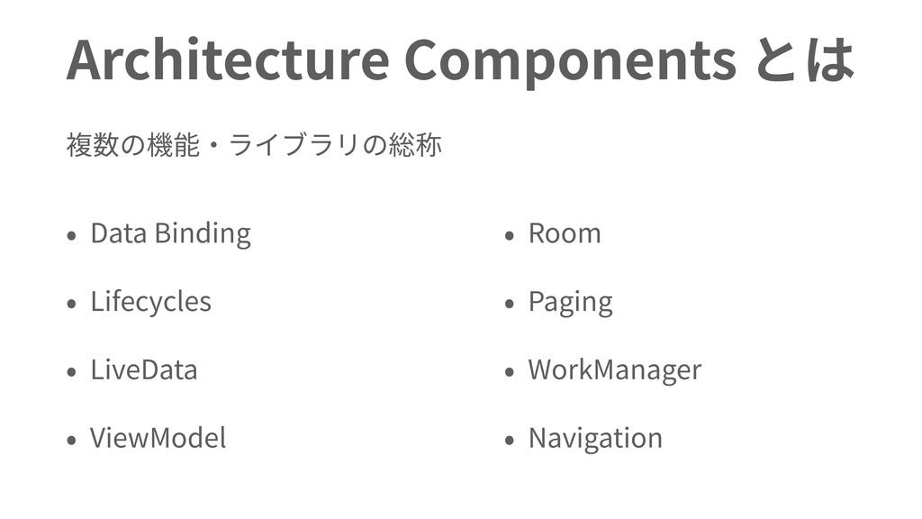 Architecture Components とは 複数の機能・ライブラリの総称 • Dat...