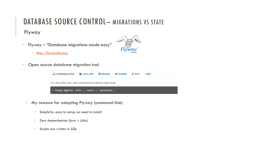 DATABASE SOURCE CONTROL– MIGRATIONS VS STATE Fl...