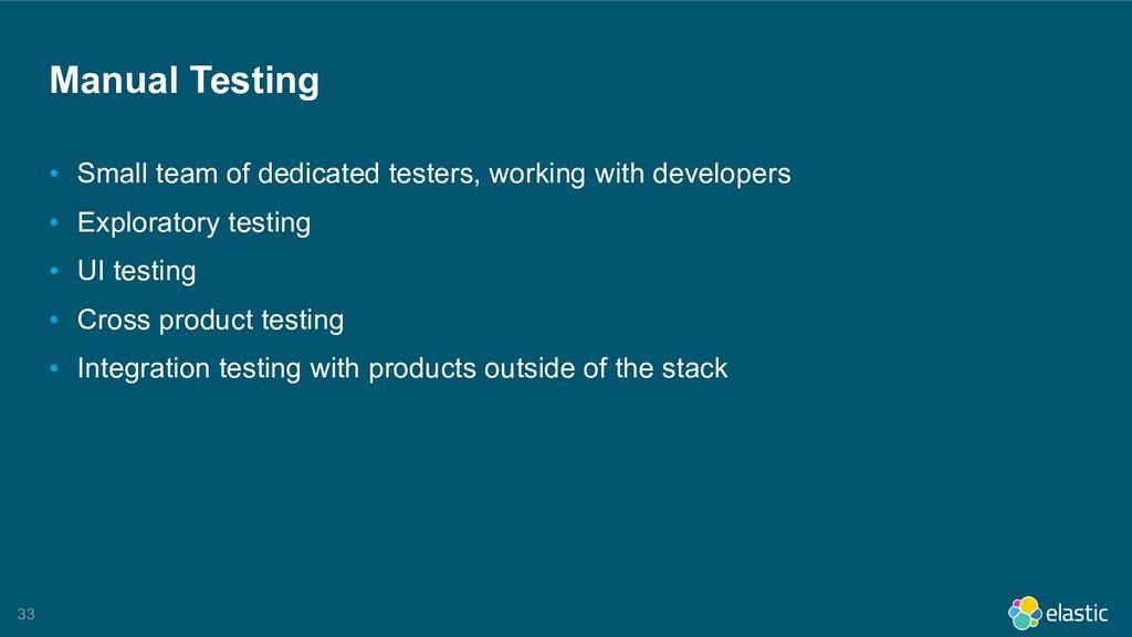 !33 Manual Testing • Small team of dedicated te...