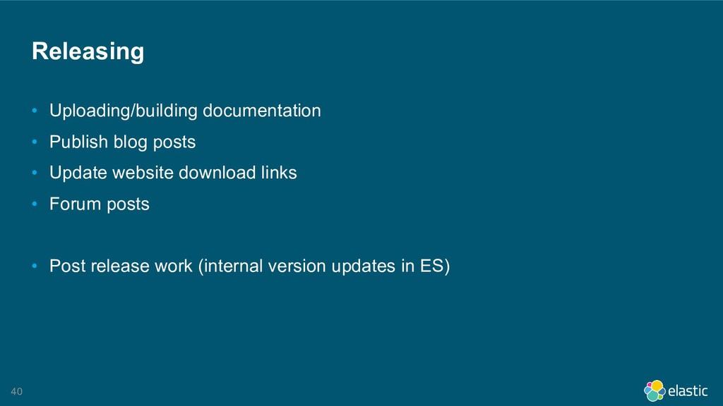 !40 Releasing • Uploading/building documentatio...
