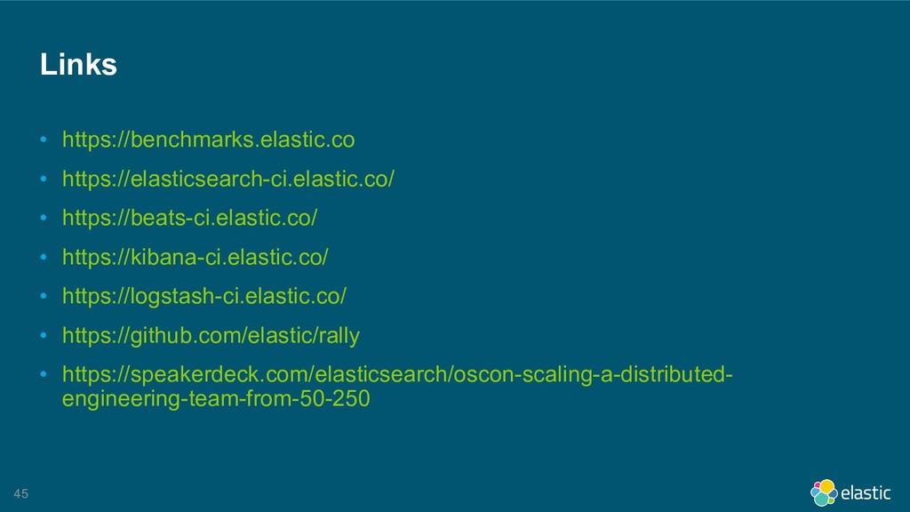 !45 Links • https://benchmarks.elastic.co • htt...