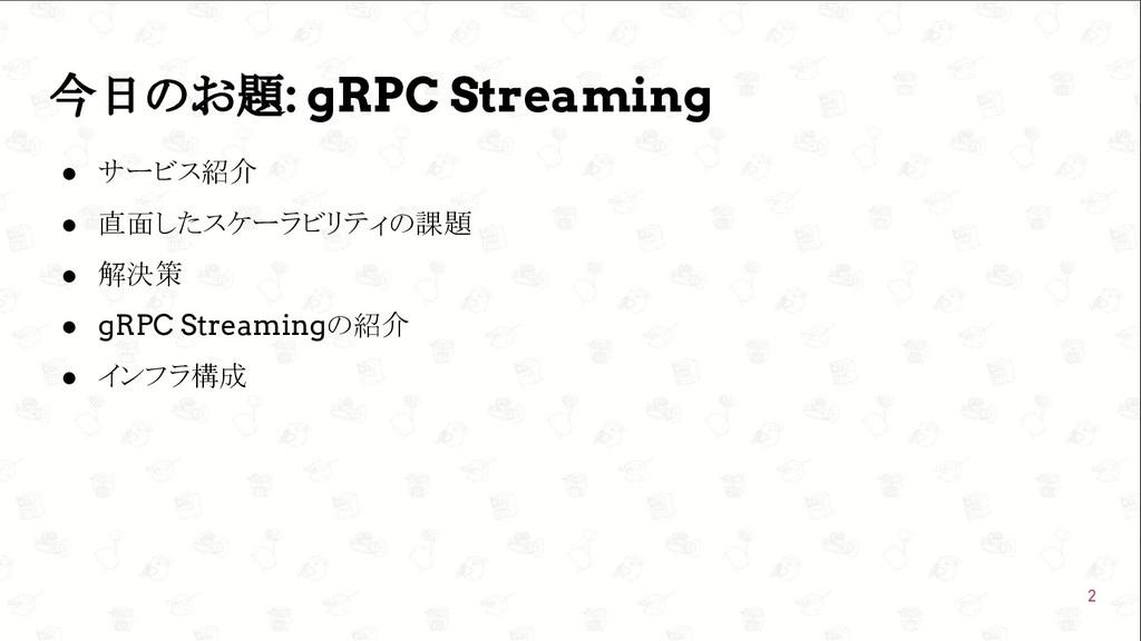 GoConference'19  今日のお題: gRPC Streaming ● サービス紹...