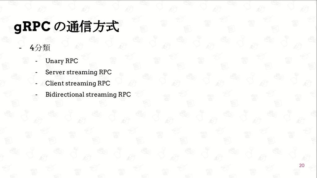 GoConference'19  gRPC の通信方式 - 4分類 - Unary RPC ...