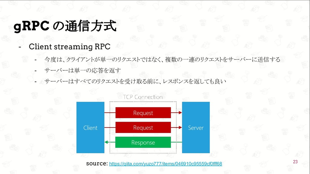 GoConference'19  gRPC の通信方式 - Client streaming...