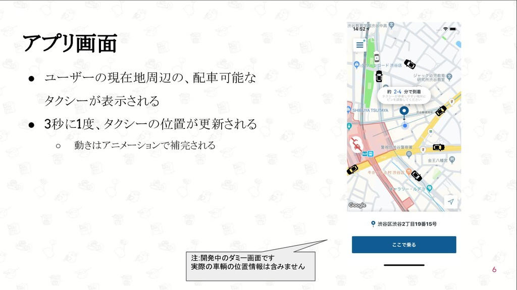 GoConference'19  アプリ画面 ● ユーザーの現在地周辺の、配車可能な タクシ...