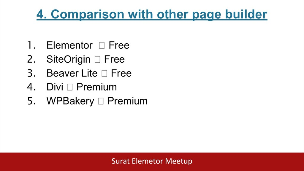 4. Comparison with other page builder 1. Elemen...