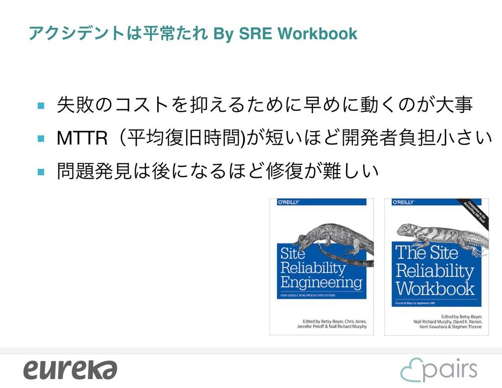 ΞΫγσϯτฏৗͨΕ By SRE Workbook ■ ࣦഊͷίετΛ͑ΔͨΊʹૣΊʹಈ...