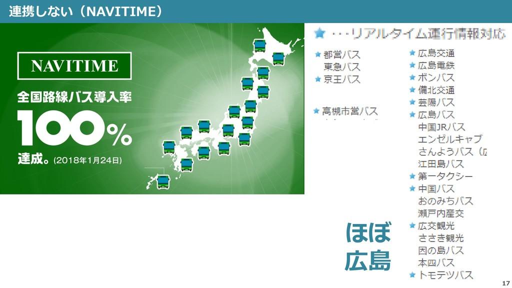 連携しない(NAVITIME) 17 ほぼ 広島