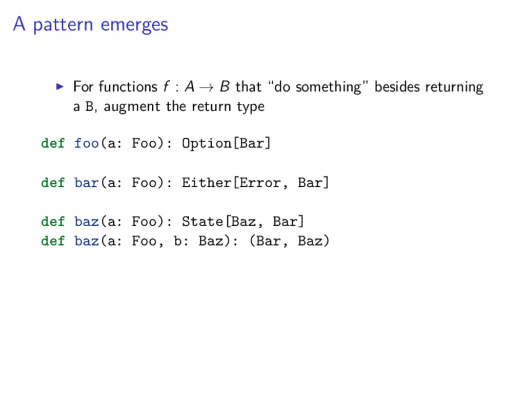 A pattern emerges For functions f : A → B that ...