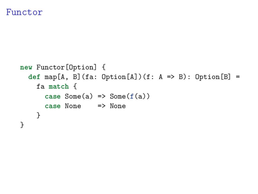 Functor new Functor[Option] { def map[A, B](fa:...