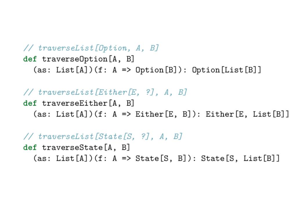 // traverseList[Option, A, B] def traverseOptio...