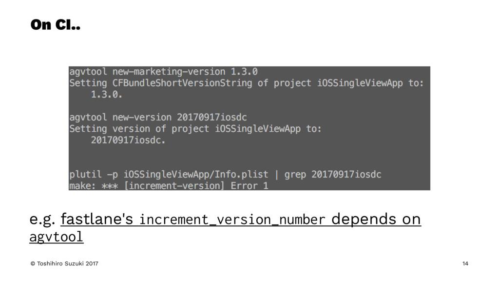 On CI.. e.g. fastlane's increment_version_numbe...