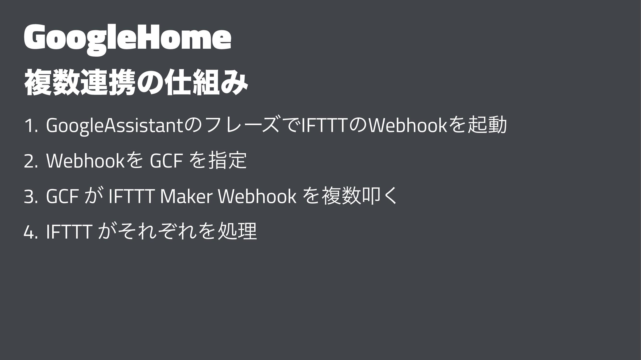 GoogleHome ෳ࿈ܞͷΈ 1. GoogleAssistantͷϑϨʔζͰIFT...