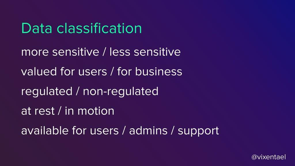 @vixentael Data classification more sensitive / ...