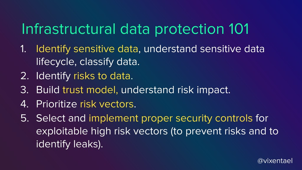 @vixentael 1. Identify sensitive data, understa...