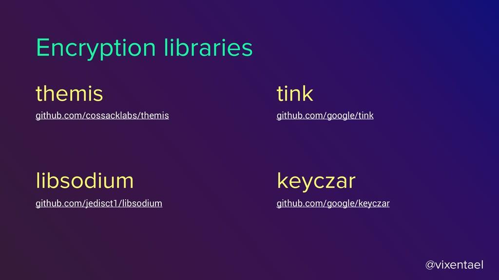 @vixentael Encryption libraries libsodium themi...