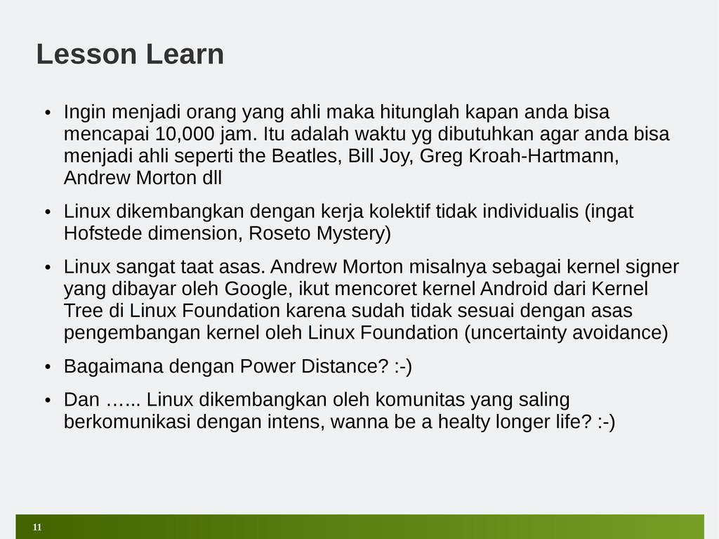 11 Lesson Learn • Ingin menjadi orang yang ahli...
