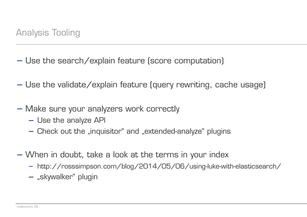 codecentric AG Analysis Tooling − Use the searc...