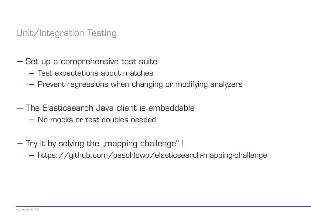 codecentric AG Unit/Integration Testing − Set u...