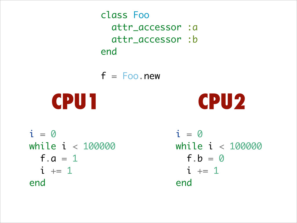 class Foo attr_accessor :a attr_accessor :b end...
