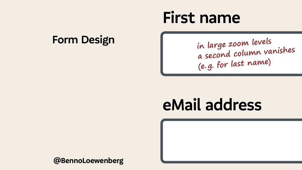 @BennoLoewenberg Form Design First name eMail a...