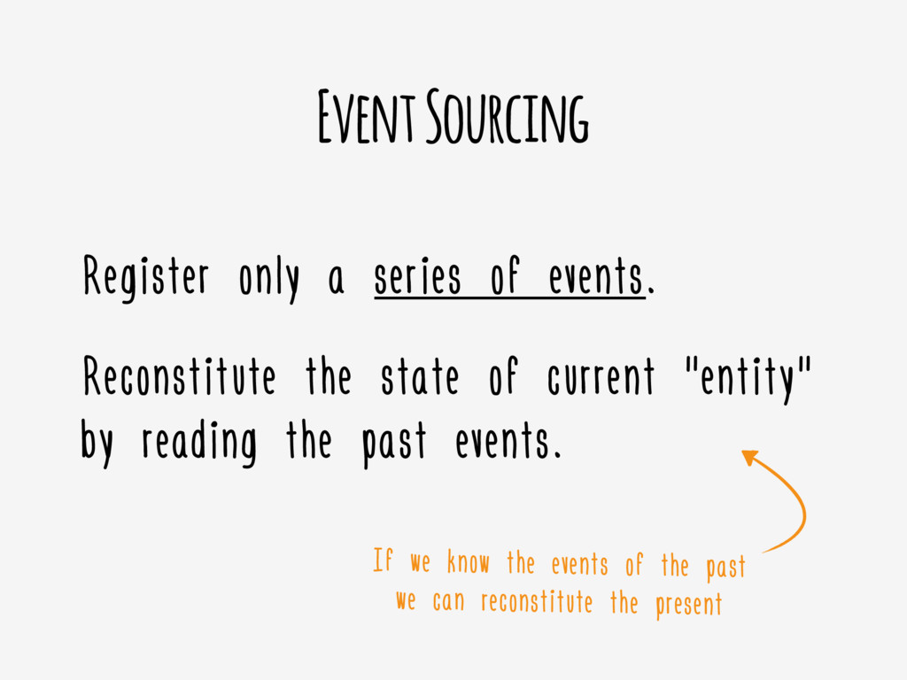 Event Sourcing Register only a series of events...