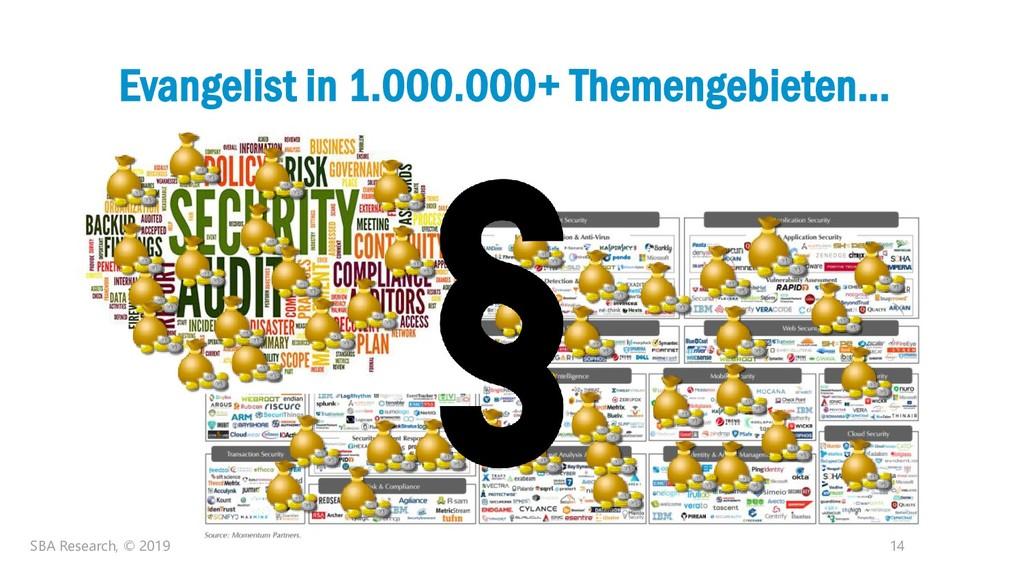 14 Evangelist in 1.000.000+ Themengebieten… SBA...