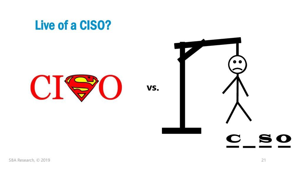 21 Live of a CISO? SBA Research, © 2019 vs. C S...