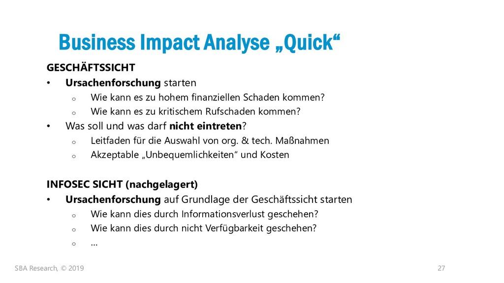 "27 Business Impact Analyse ""Quick"" GESCHÄFTSSIC..."