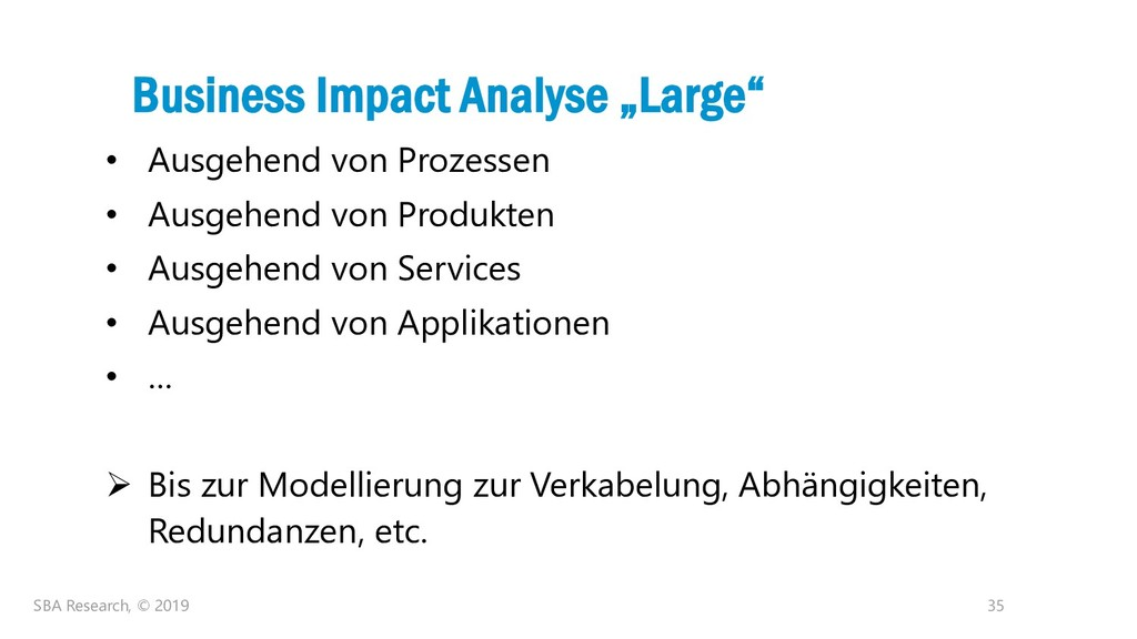 "35 Business Impact Analyse ""Large"" • Ausgehend ..."