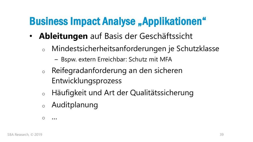 "39 Business Impact Analyse ""Applikationen"" • Ab..."