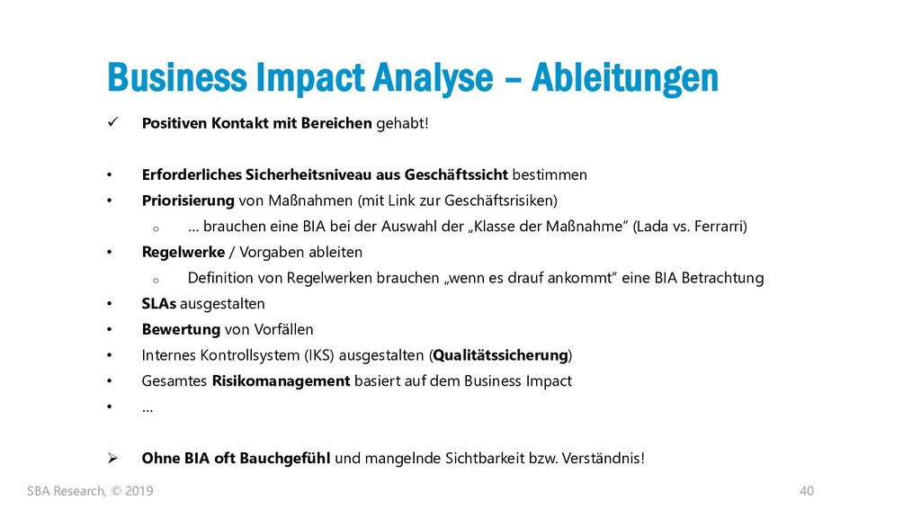 40 Business Impact Analyse – Ableitungen ✓ Posi...