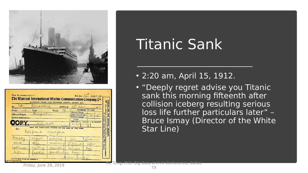"""Titanic Sank • 2:20 am, April 15, 1912. • """"Deep..."""
