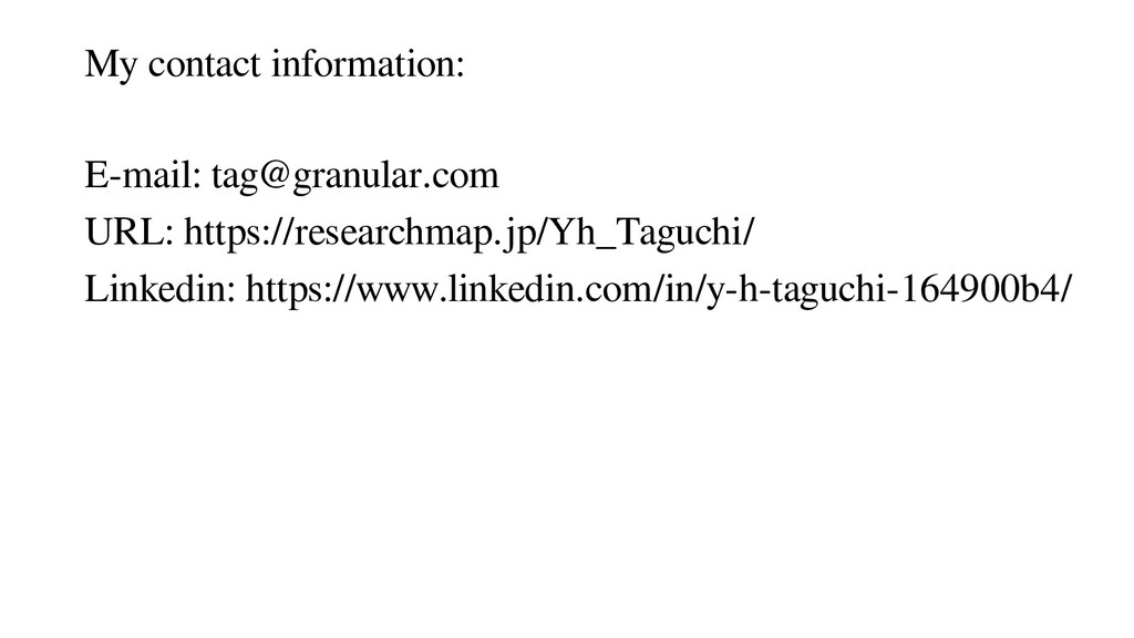 My contact information: E-mail: tag@granular.co...