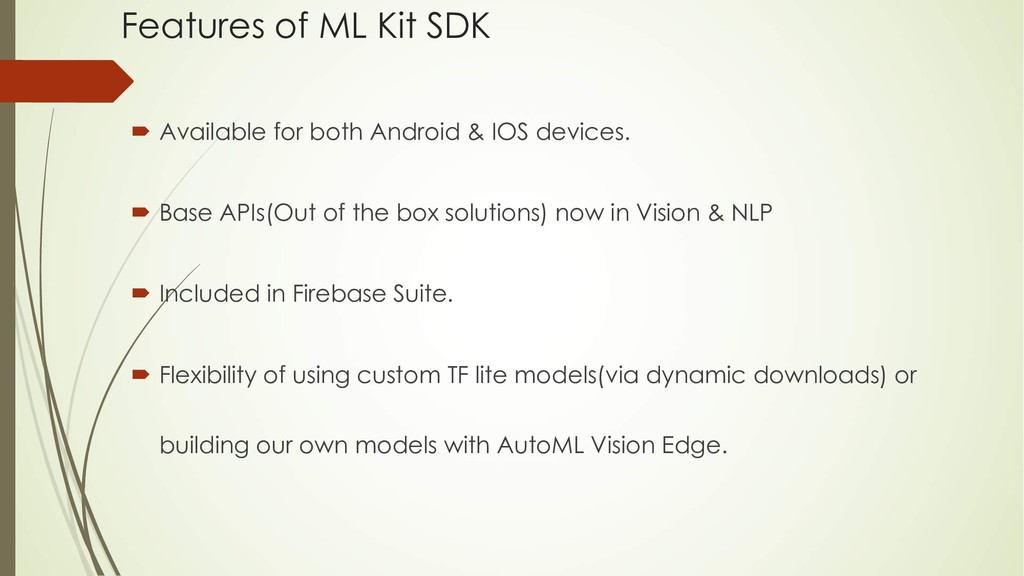 Features of ML Kit SDK ´ Available for both And...