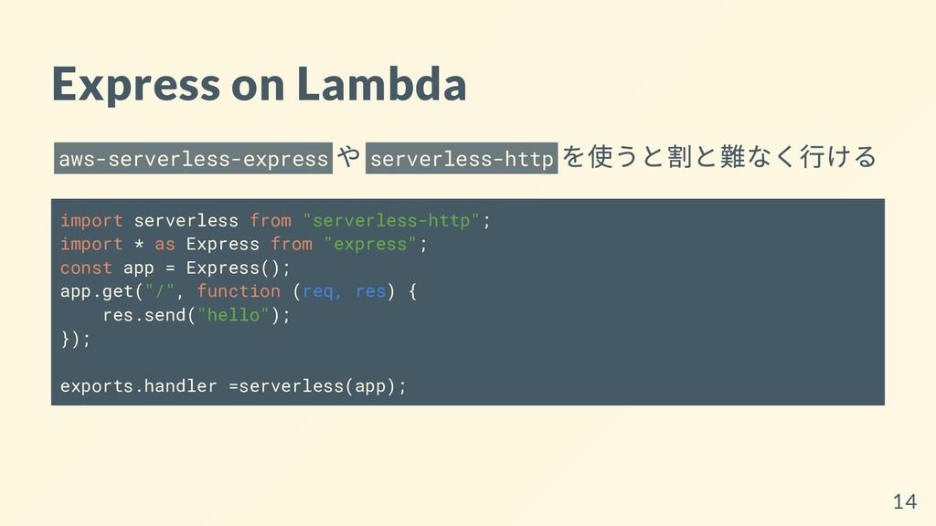 Express on Lambda aws-serverless-express や serv...