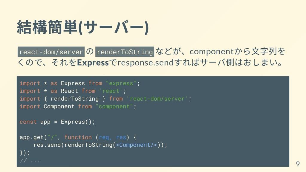 結構簡単( サーバー) react-dom/server の renderToString な...
