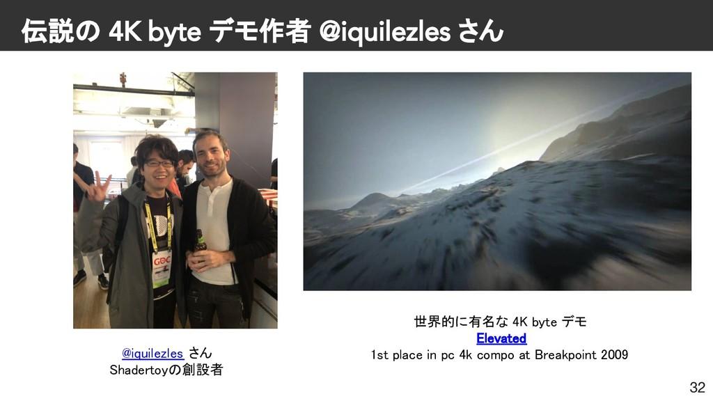伝説の 4K byte デモ作者 @iquilezles さん 32 @iquilezles ...
