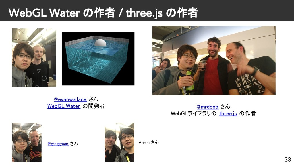 WebGL Water の作者 / three.js の作者 33 @evanwallace ...