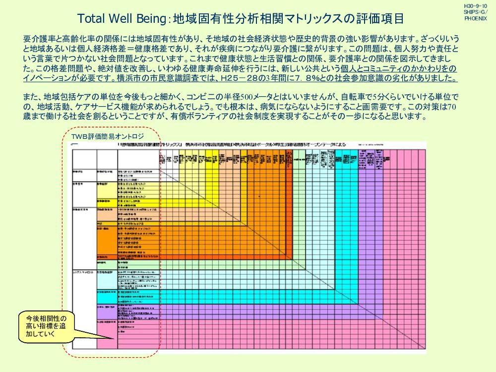 Total Well Being:地域固有性分析相関マトリックス 評価項目 要介護率と高齢化率...