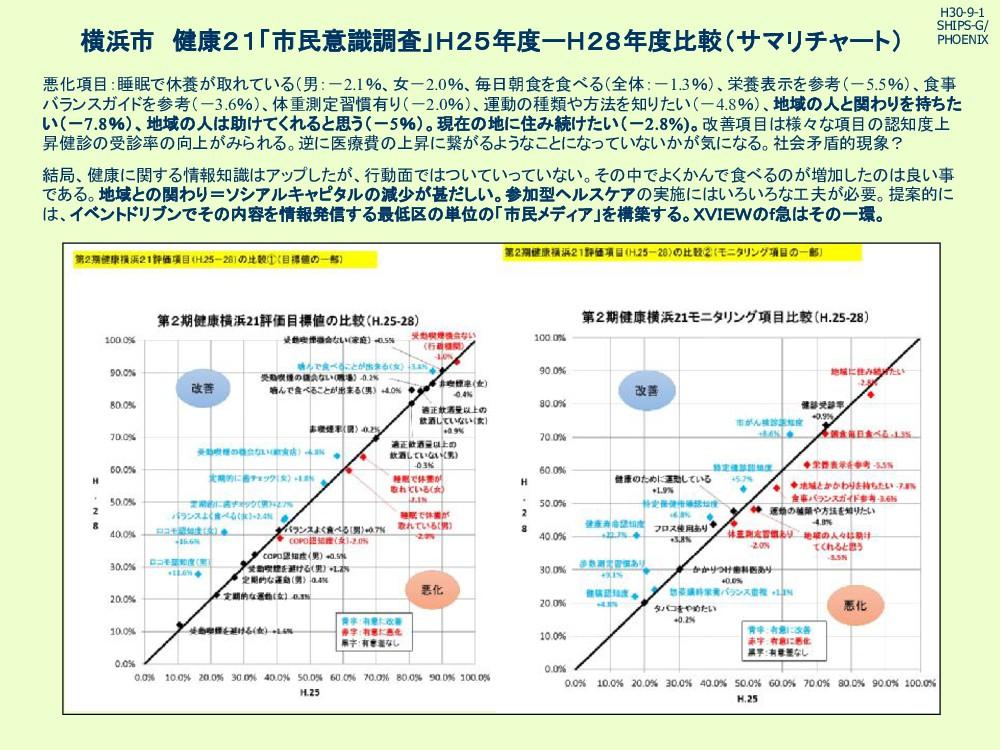 横浜市 健康21「市民意識調査」H25年度ーH28年度比較(サマリチャート) 悪化項目:睡眠で...