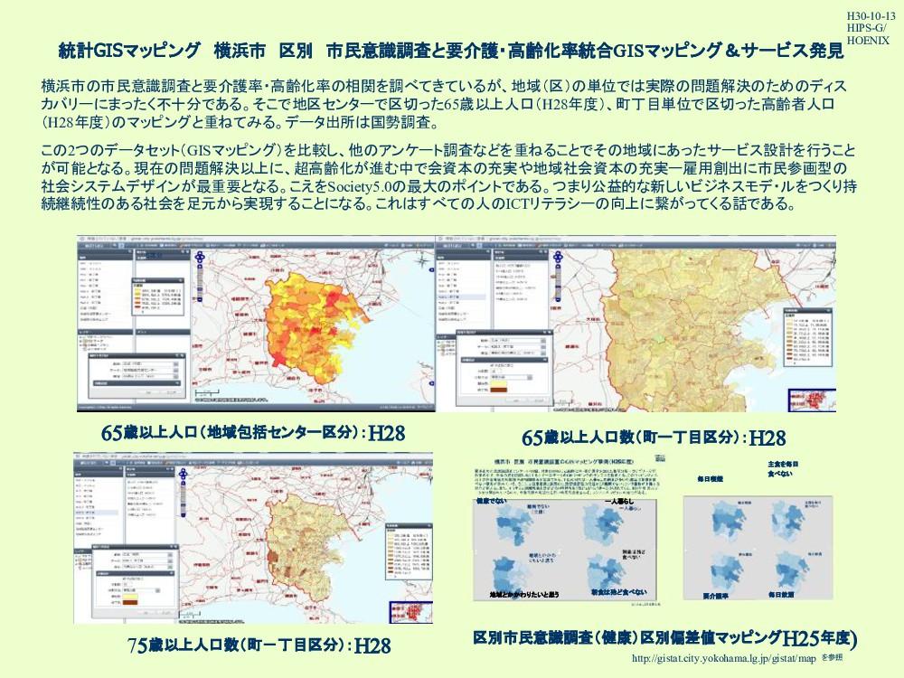 統計GISマッピング 横浜市 区別 市民意識調査と要介護・高齢化率統合GISマッピング&サービ...