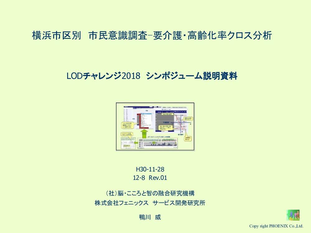 横浜市区別 市民意識調査-要介護・高齢化率クロス分析 LODチャレンジ2018 シンポジューム...